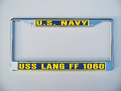 Amazon.com : USS LANG FF 1060 License Plate Frame Metal or Plastic ...