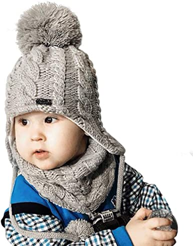 Kids Winter Hat and Scarf Set for Baby Girls Boys Toddler Knit Beanie Hat Pom Pom Ears Flap Hats Fleece Lining
