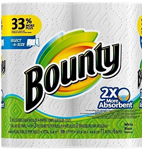 Bounty Select-a-Size 2 x More Absorbent Paper Towels,11 x 6-Inches, 96-PLY SHEETS,White (PACK OF 2) by Bounty