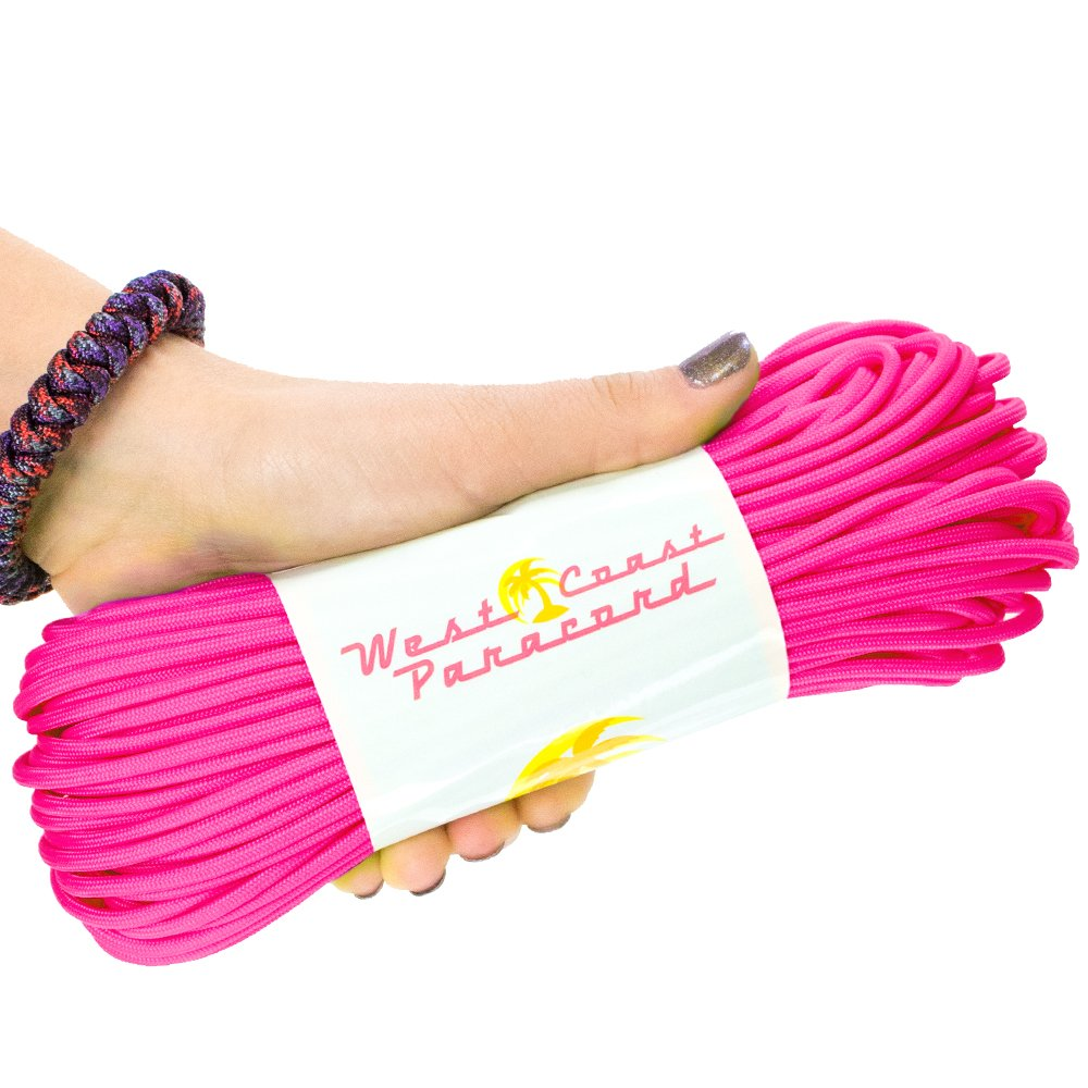 West Coast Paracord 7-Strand 550lb Break Strength-Guaranteed US Made Type III Survival Cord - 30+ Colors to Choose from - Available in 10, 25, 50, 100, 1000 ft (70s Neon Pink, 10 Feet)