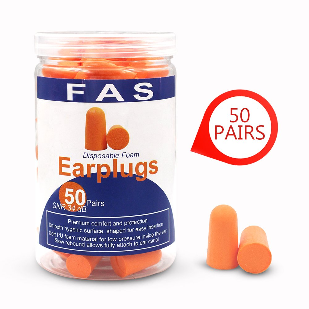 50 Pairs Ultra Soft Foam Earplugs Noise Reduction For Working, Study, Sleep, Noring, Shooting, 34dB SNR Ear Care Disposable Ear Plugs By Fas Industry, Orange