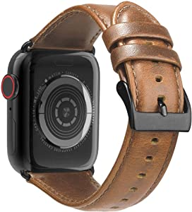 BRG Leather Bands Compatible with Apple Watch Band 44mm 42mm 40mm 38mm, Men Women Replacement Genuine Leather Strap for iWatch Series 5 4 3 2 1 Sport and Edition