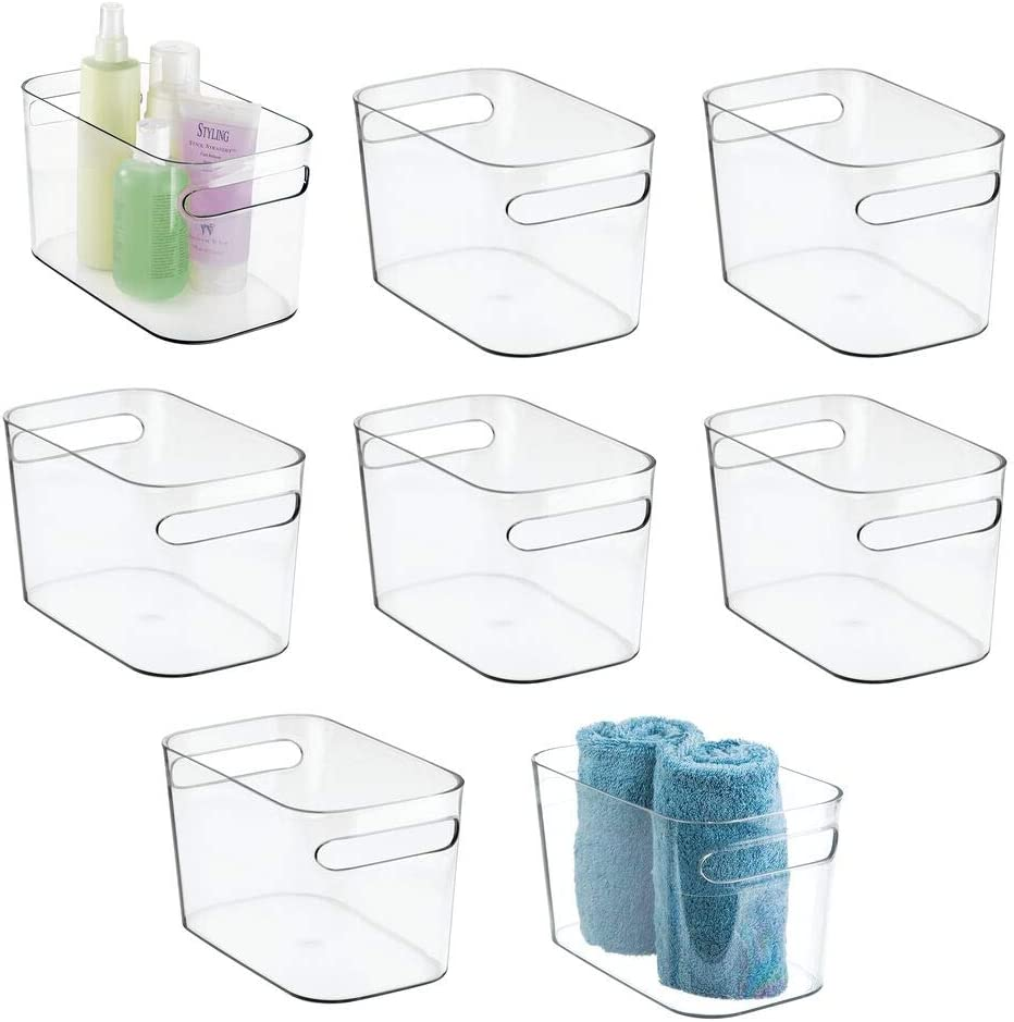 "mDesign Deep Plastic Bathroom Vanity Storage Bin with Handles - Organizer for Hand Soap, Body Wash, Shampoo, Lotion, Conditioner, Hand Towel, Hair Brush, Mouthwash - 10"" Long, 8 Pack - Clear"