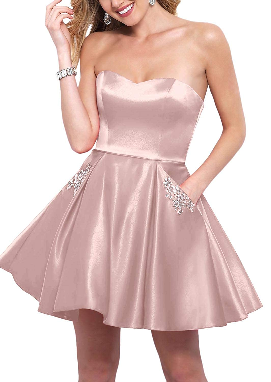 Pastel Pink YnanLi Dress Short Ball Gown Homecoming Dresses 2019 Strapless Sweetheart with Beaded Pockets
