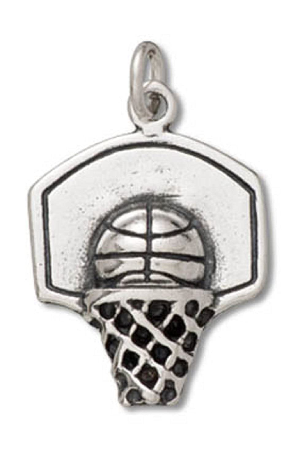 Sterling Silver Girls .8mm Box Chain Basketball In Hoop Pendant Necklace