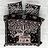 Indian Elephant Tree Of Life Bohemian Duvet Doona Cover Comforter Mandala Hippy Queen Quilt Cover Set Cotton Handmade By ''Handicraft-Palace''