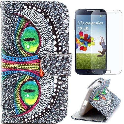 Semoss Vert Oeil Coque Cuir Etui Housse pour Samsung Galaxy S4 i9500 i9505 PU Eyes Folio Flip Portefeuille Wallet Cover avec Fonction Stand/Carte Titulaire+Protecteur d'ecran Castho S4-LTHR-EYE+SCPR8
