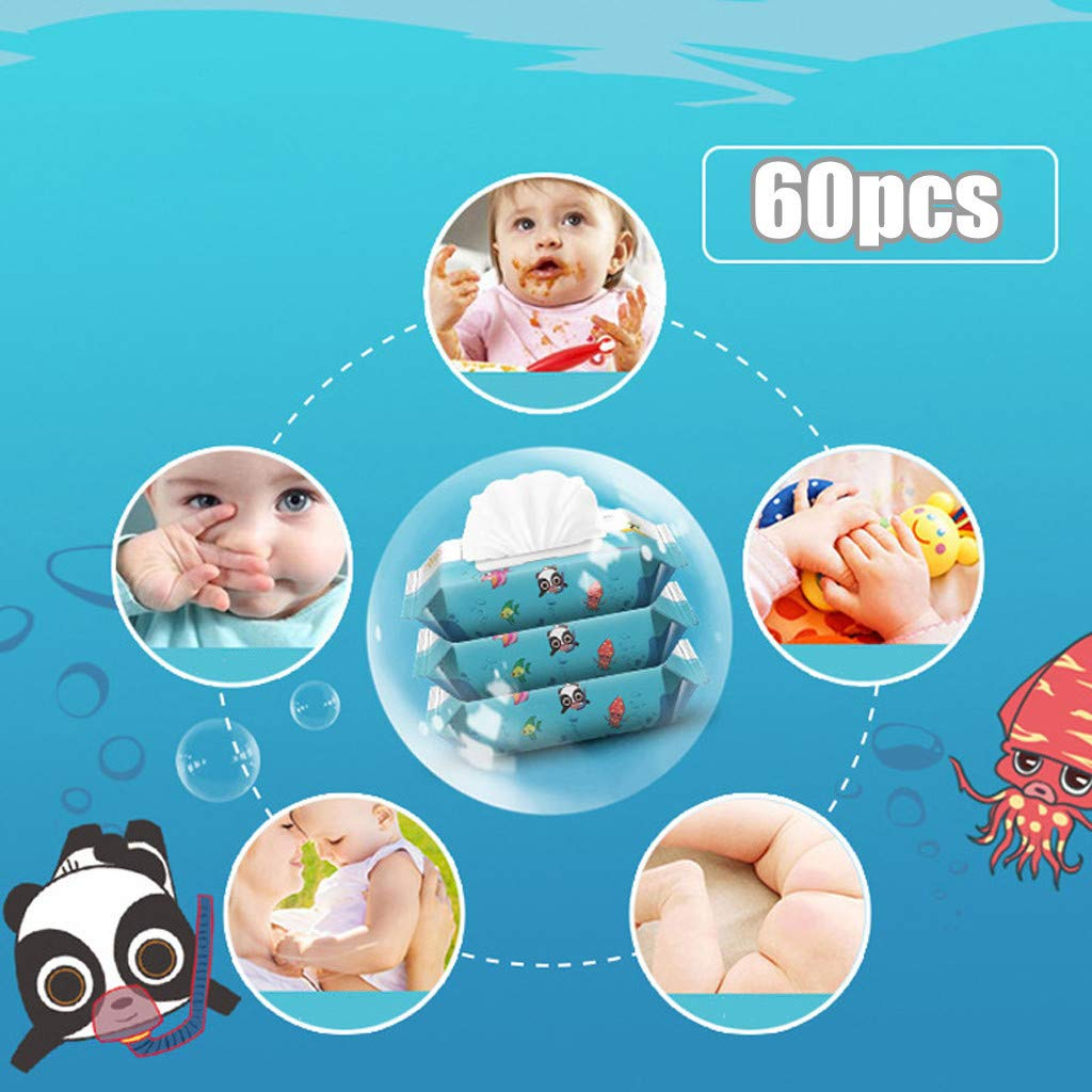 Germicidal Disposable Wipes Sensitive and Newborn Skin Chirpa 60 Pcs Antibacterial Wipes,Unscented Untoxiced Wipes