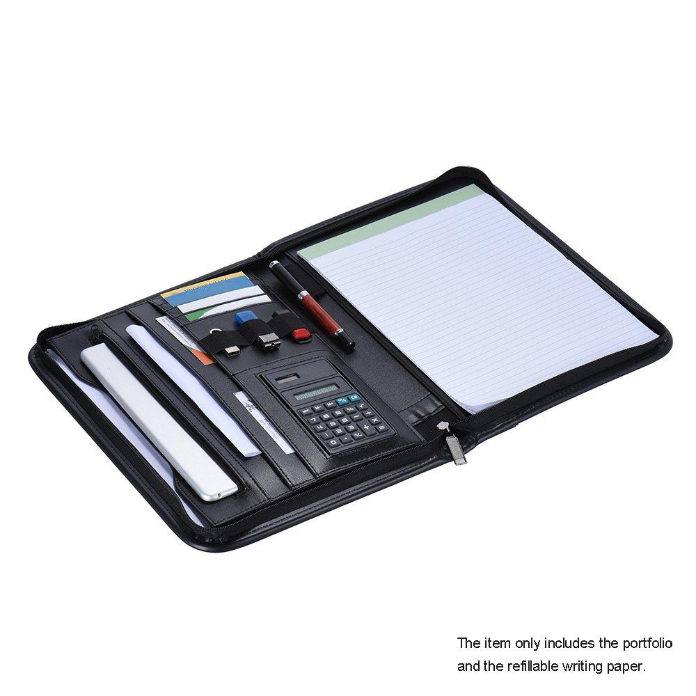 A4 in pelle PU Business Portfolio Aibecy Multifunzionale Schreibmappe Cartelle Documento Tasche Organizer con Porta Biglietti da Visita Memo Blocco Note