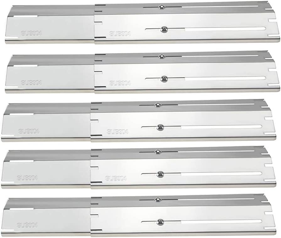Hisencn A Series Universal Replacement Heavy Duty Adjustable 304 Stainless Steel Heat Plate Shield for Brinkmann 810-3660-S, 810-1750-S, 810-4580-S Gas Grill, Extends from 11.75