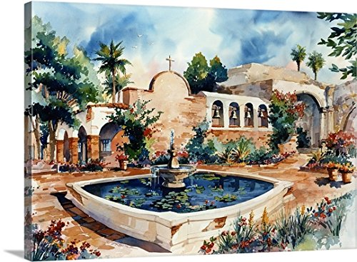Gallery-Wrapped Canvas entitled Mission San Juan Capistrano by Bill Drysdale 60''x44'' by greatBIGcanvas
