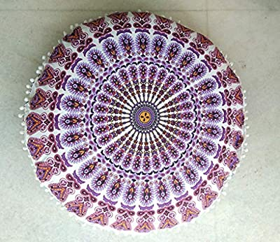 "RADHY KRISHNA FASHIONS 32"" Indian Mandala Floor Pillow Cushion Seating Throw Cover Hippie Decorative Bohemian Ottoman Poufs, Pom Pom Pillow Cases,Boho Indian (32 Inches, Purple White)"