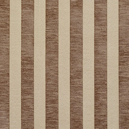 Beige and Brown Medium Scale Stripe Chenille Upholstery Fabric by the (Medium Brown Chenille Fabric)