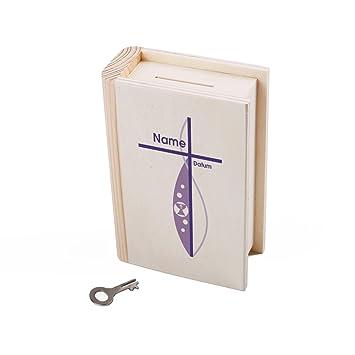 Striefchen Sparbüchse Aus Holz Als Buch Zur Taufekommunionkonfirmation Mit Namen Und Datum Für Mädchen