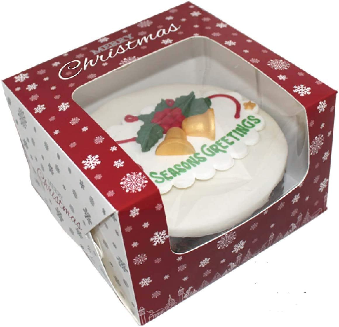 Pack of 10 Premium Windowed Christmas SNOWFLAKE Cake Boxes 8 x 8 x 5
