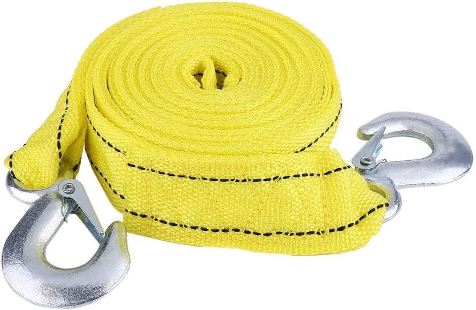 Cuerda de remolque Carga de 4 metros Remolque de coche de 5 toneladas Cuerda de remolque Cable de remolque con ganchos Herramienta para veh/ículos de emergencia