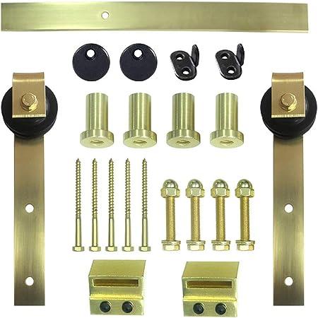 Herraje para Puerta Corredera Kit Kit de herrajes para rieles colgantes de puerta de granero de 200-400 cm, Accesorios para rieles de puerta corrediza para puerta de empuje y extracción de dormitorio:
