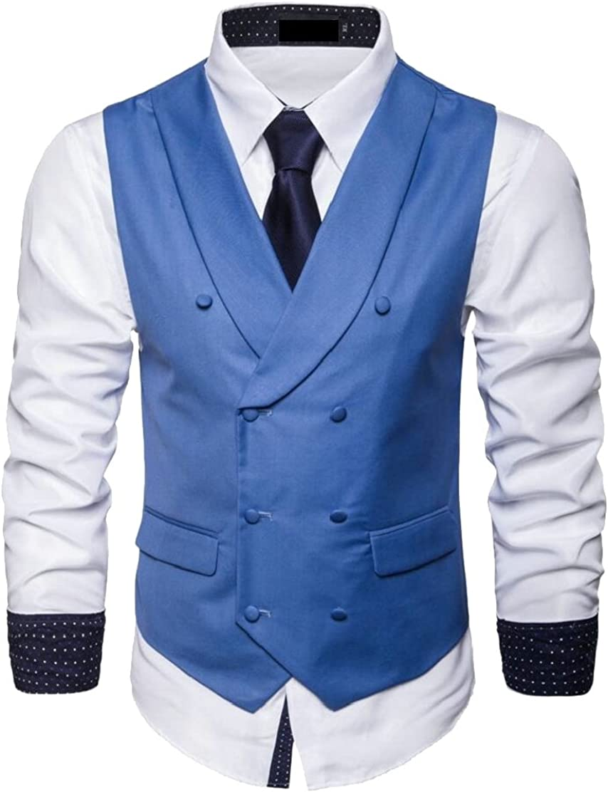 CYJ-shiba Mens Vintage Solid Color Double-Breasted Suit Vest Dress Waistcoat