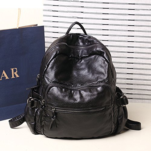 AnnaSue Taobao heißen Korean Casual Wasch schwarzem Leder Rucksack Schul Hochschule Wind , sagte die schöne Pilz Street