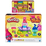 Play-Doh Dreamworks Trolls Press 'n Style Salon + Play-Doh Sparkle Compound Bundle