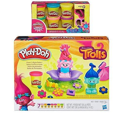 Play-Doh Dreamworks Trolls Press 'n Style Salon + Play-Doh Sparkle Compound Bundle by Play-Doh