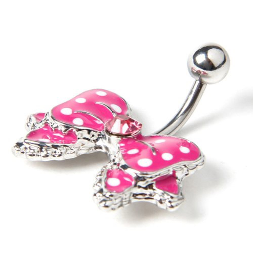 Black Dot White Bowknot Crystal Navel Belly Button Barbell Ring Body Piercing/_WK