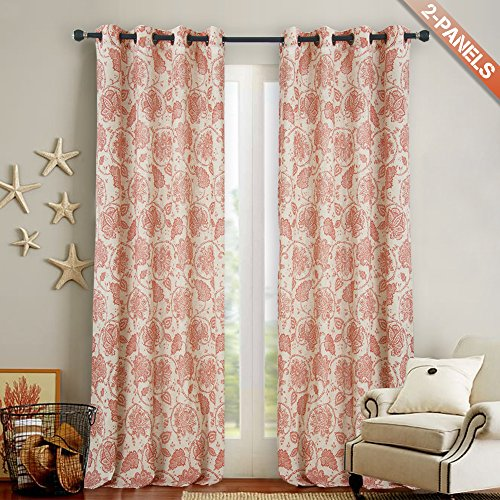 3 Panel Scroll - jinchan Floral Scroll Printed Linen Curtains Grommet Top - Ikat Flax Textured Medallion Design Retro Jacobean Floral Living Room Window Covering (2 Panels Poppy Red, 50-by-108 Inch)