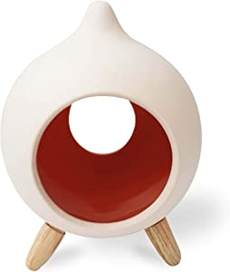 Miaromi Unglazed Decorative Ceramic Tear Drop Design Tea Light Candle Holder, Unique and Modern Look-Ideal Gift for Weddings, Party Favor, Reki, Meditation (Orange)
