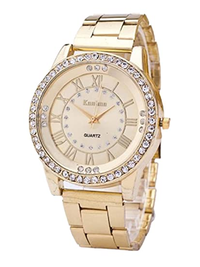 Laimeng, Women's Men's Crystal Rhinestone Stainless Steel Analog Quartz Wrist Watch (Golden)