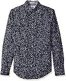 Original Penguin Men's Integrated Floral Dress Shirt, Nightshade, Medium