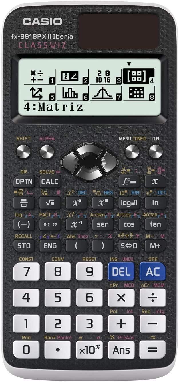 Casio FX-991SPX II - Calculadora científica, Recomendada para el currículum español y portugués, 576 funciones, Solar y color gris /blanco
