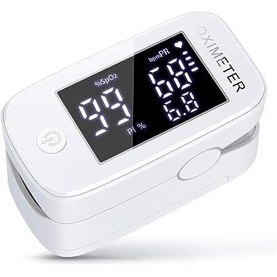 konjac oxímetro de pulso de dedo, Monitor de saturación de oxígeno en sangre con PR (frecuencia del pulso), PI (índice de perfusión) (Negro)