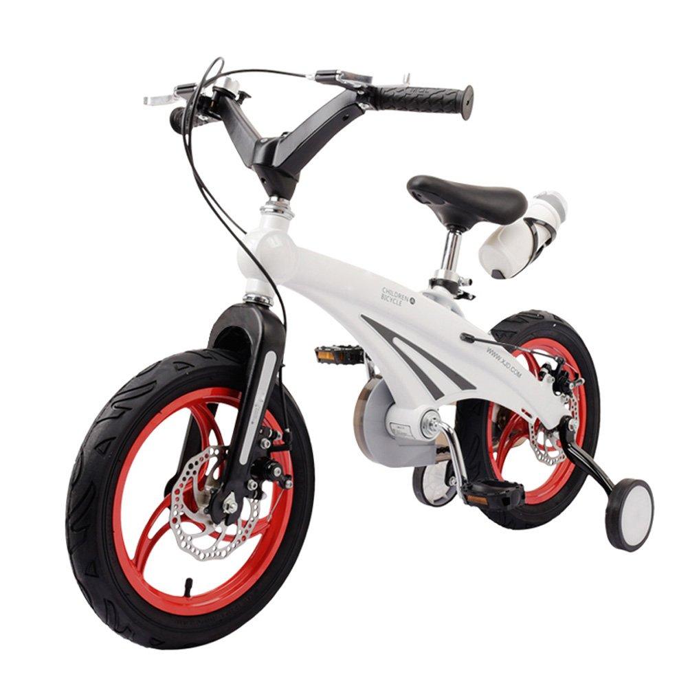 Lll- キッズの自転車2-4歳のユニセックス子供用自転車12インチのベビーカーマウンテントライクトレーニングホイール付き (色 : 白, サイズ さいず : 12