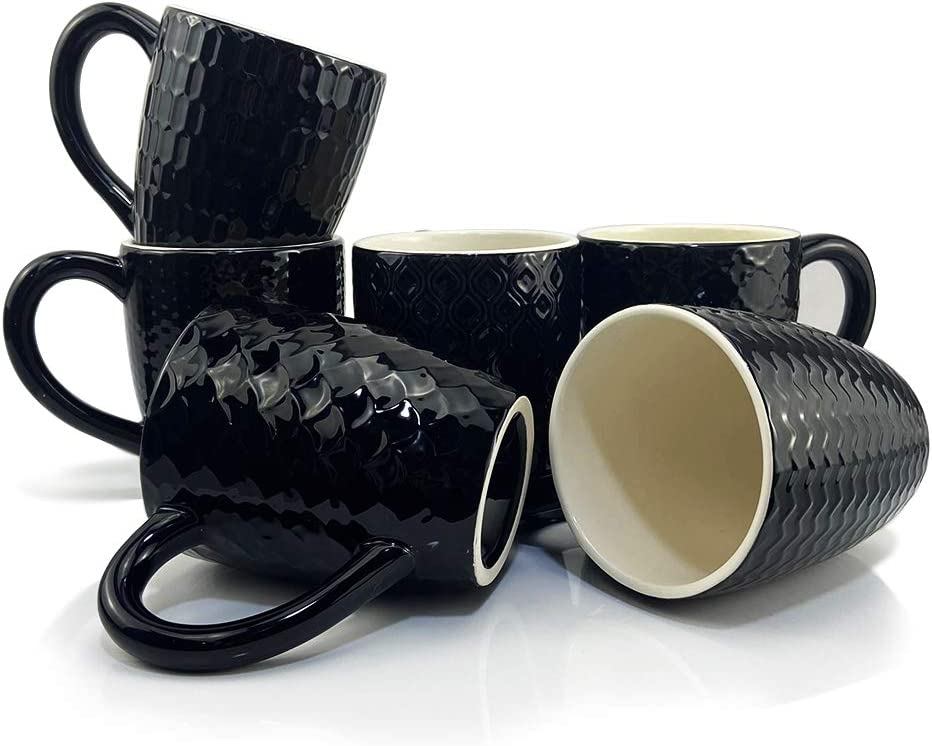 Schliersee Black Ceramic Coffee Mugs set of 6, Stylish Embossed Coffee Cups Set with Different Patterns, 13.5 Ounce, for Coffee, Tea, Milk, Cocoa, Cereal