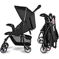 Costzon Lightweight Baby Stroller, Foldable Stroller with 5-Point Safety System and Multi Position Reclining Seat (Black…