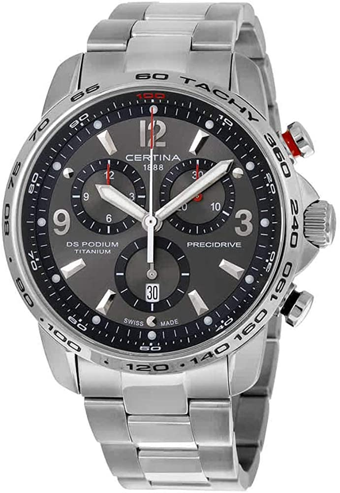 Certina DS Podium Big Size Chronograph Grey Dial Titanium Mens Watch C0016474408700