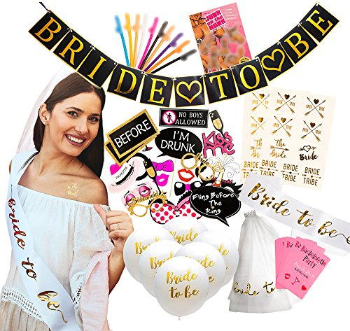 "Ultimate Bachelorette Party Decorations - Large 71 Piece Kit of Bridal Shower Supplies - ""Bride to Be"" Banner, Veil, Sash; 10 Balloons, 18 Tattoos; 10 Funny Straws; 28 Photo Props; 2 Party Games (Party Bachelorette Novelties)"
