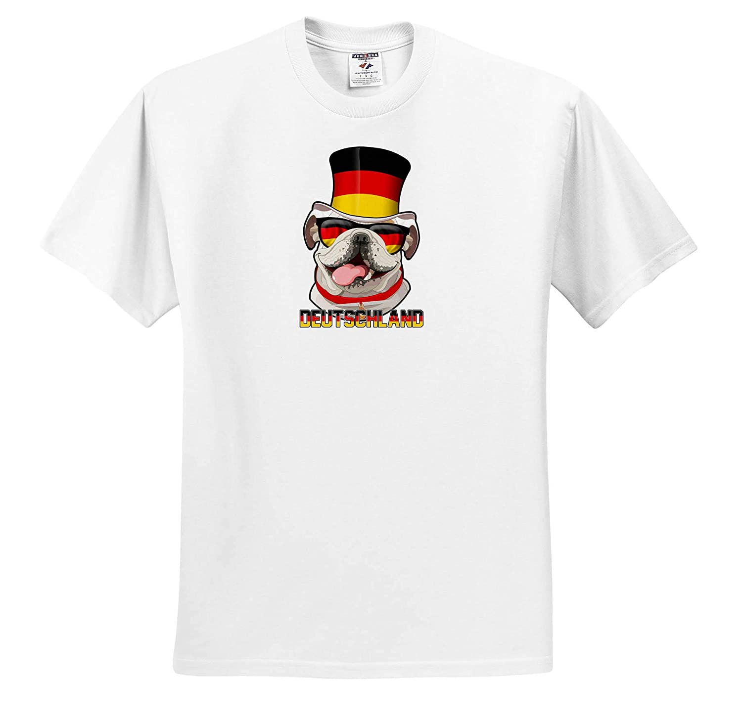 T-Shirts Germany English Bulldog with German Flag Top Hat and Sunglasses Illustrations 3dRose Carsten Reisinger