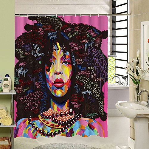 African American Shower Cutain Woman Abstract Print Waterproof Mildew Resistant Fabric Polyester Bath Curtain for Hip Pop Art Bathroom - Hip Art Pop