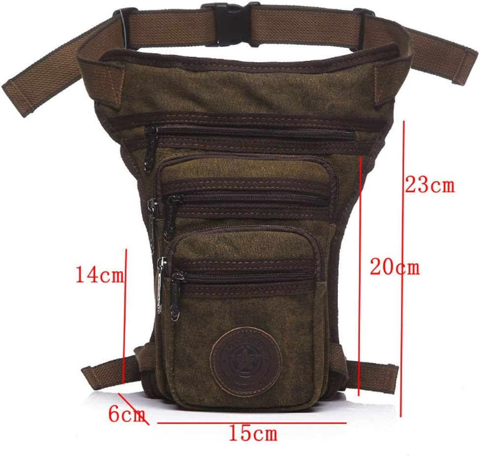 Black Nylon Thigh Drop Leg Bag for Men Tactical Military Motorcycle Bike Rider Multi-pockets Mens Travel Hiking Climbing Cycling Outdoor Waist Fanny Pack
