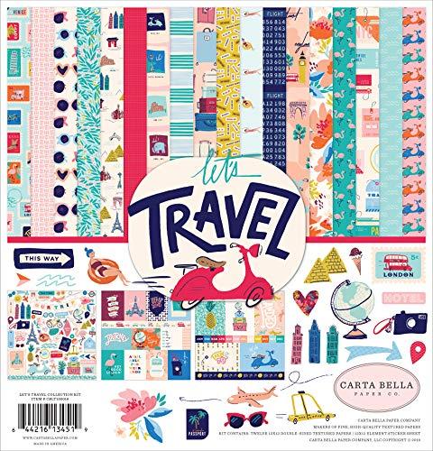 Carta Bella Paper Company CBLT100016 Let's Travel Collection Kit Paper, Pink, Purple, Orange, Blue, Green, Black ()