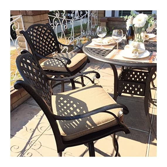 Everhome Designs - Nevada 5-Piece Cast Aluminum Patio Bar Set - Weather resistant solid cast aluminum construction Multi-step powder-coated antique bronze finish. SUNBRELLA fabric cushion - Sesame color - patio-furniture, dining-sets-patio-funiture, patio - 61eub4O49oL. SS570  -