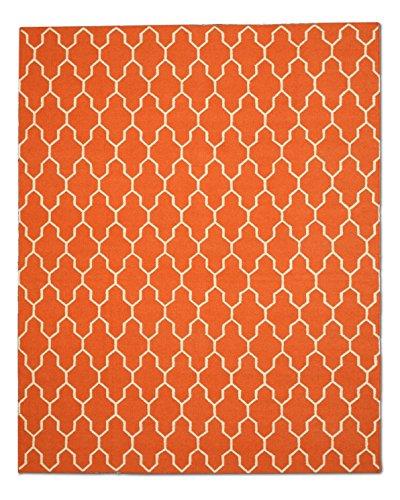 Eorc Wool (EORC DM12RT Handmade Wool Reversible Modern Moroccan Kilim Rug, 8' x 10',)