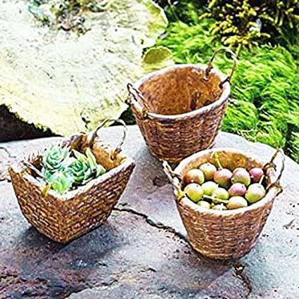 Miniature Dollhouse FAIRY GARDEN Accessories ~ Set of 2 Round Resin Baskets NEW