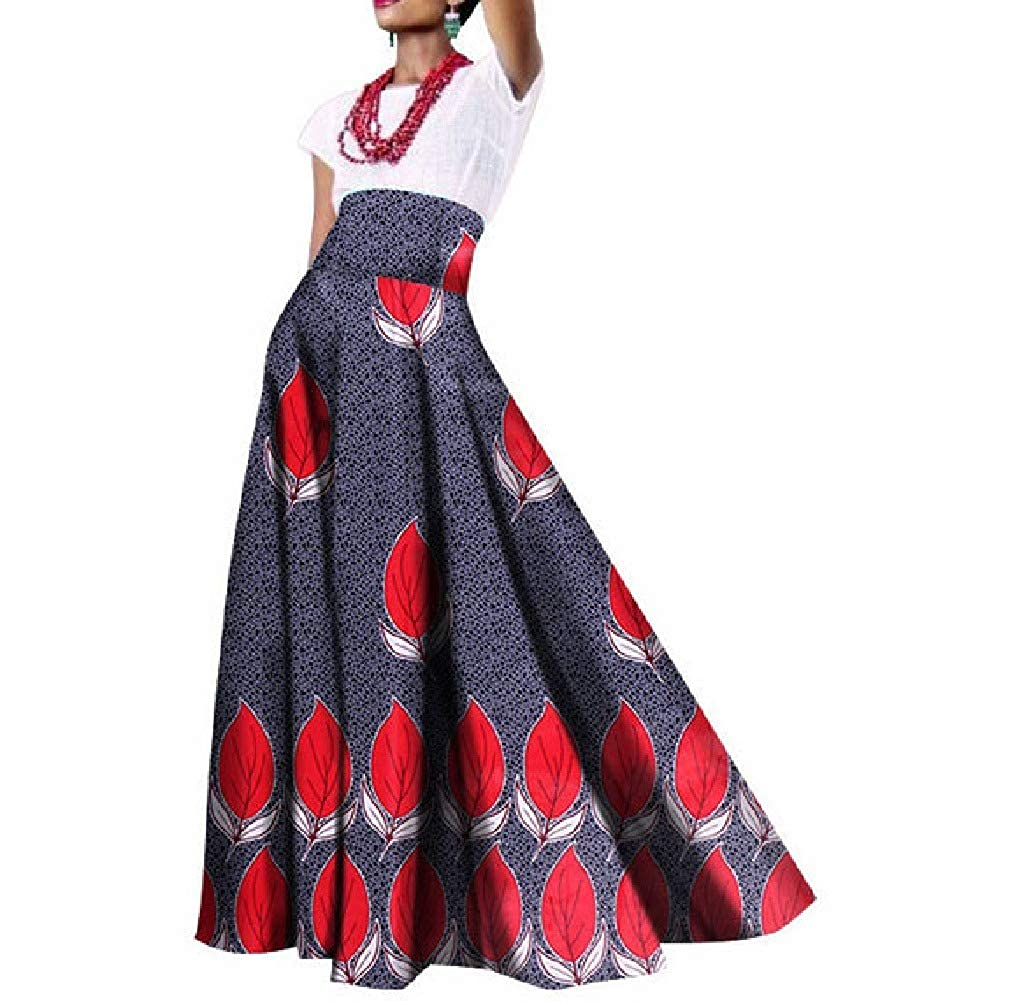 Comaba Womens Cotton Swing Floral African Print Draped High Waisted Dress