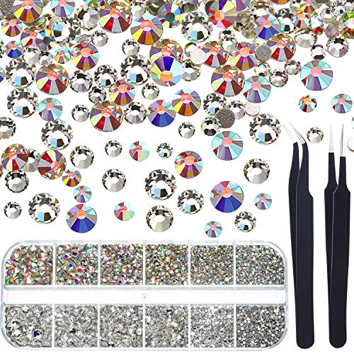Crystals Nail Art Rhinestones Round Beads Flatback Glass Charms Gems Stones and 2 Pieces Tweezers with Storage Organizer Box, SS3 6 10 12 16 20, 288 Pieces Each Size (5040 Pieces Crystal AB, Clear) ()