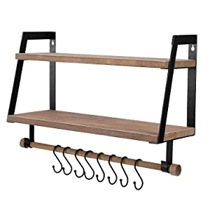 Kakivan 2-Tier Floating Shelves Wall Mount for Kitchen Spice Rack with 8 Hooks Storage, Rustic Farmhouse Wood Wall Shelf for Bathroom Décor with Towel Bar.