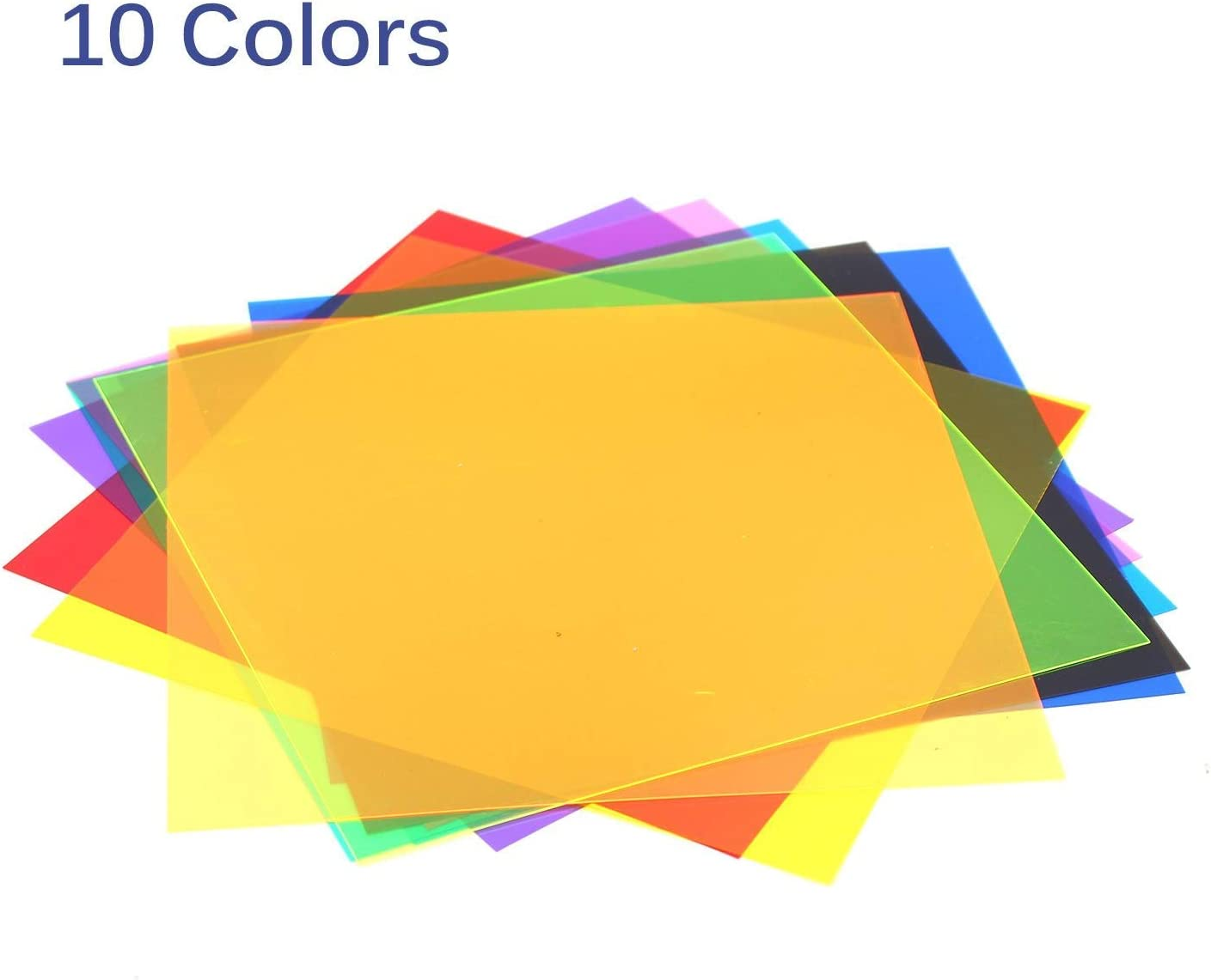 Red 10 Pack Gel Filter Transparency Color Film Plastic Sheets Colored Overlays Correction Gels Light Filter Flash Lighting Holiday Decorations,11.7 by 8.3 Inches