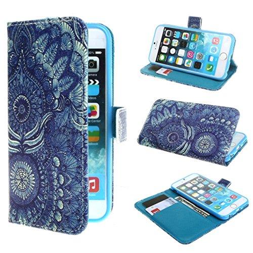 Mode Tribal Blume Printed Magnetisch Style Beutel PU Leder Stehen Tasche Hülle Schale Schutzhülle Case Cover für Apple iPhone 6 4.7 Zoll