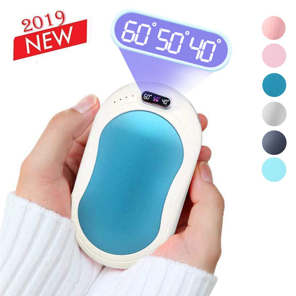 Calentadores de manos de bolsillo recargables Calentadores de manos USB Calentador de manos port/átil de temperatura de 3 niveles con 10000 mAh de carga Treasure Protector de manos de calefacci/ón